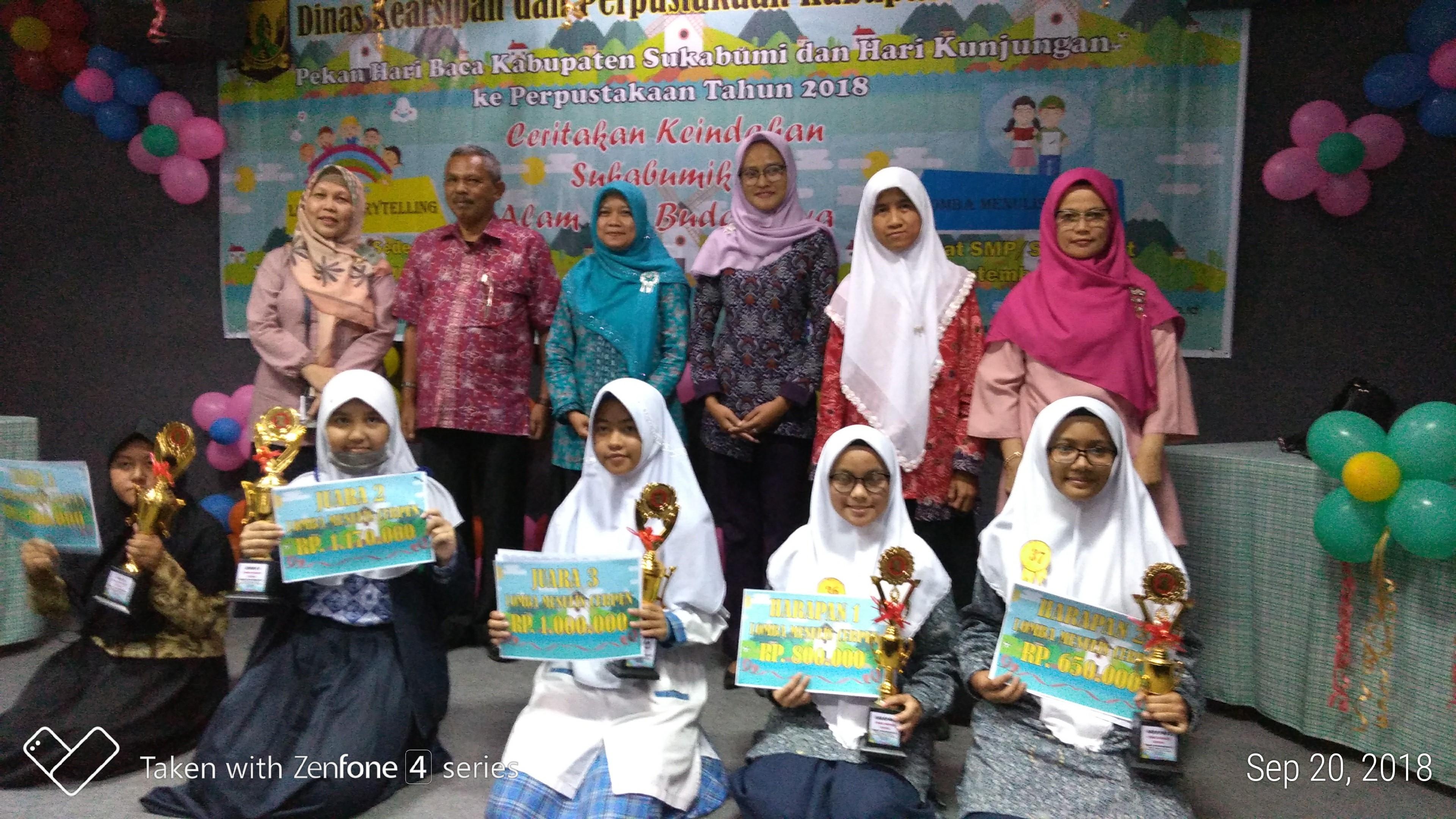 Al Kausar Boarding School Juarai Lomba Dinas Kearsipan dan Perpustakaan Kabupaten Sukabumi dalam rangka peringatan hari baca dan hari kunjung perpustakaan.